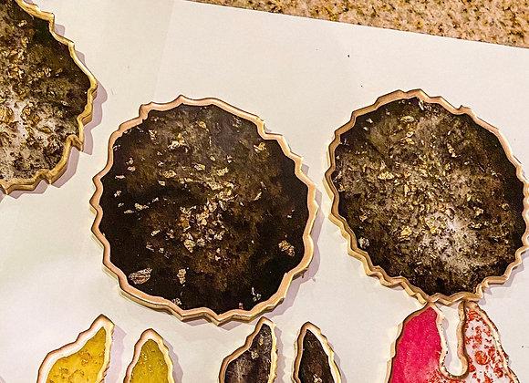 Black Sparkle Resin Coasters