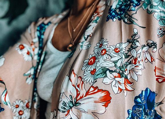 Bold Floral Print Kimono