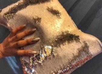 Metallic Gold/Cream Reversible Sequin clutch