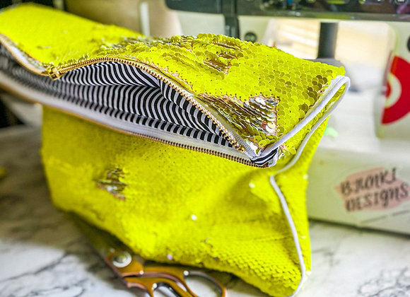 Neon Reversible Sequin clutch
