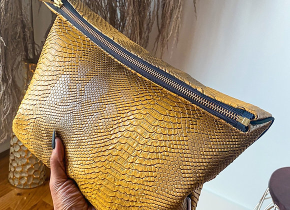 Gold Snakeskin Clutch Foldover