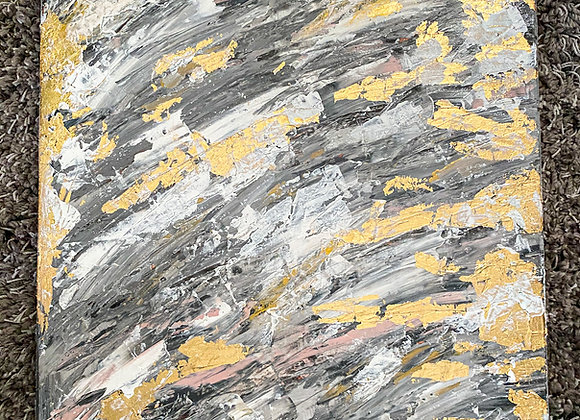 Grey Abstract with Gold Leaf