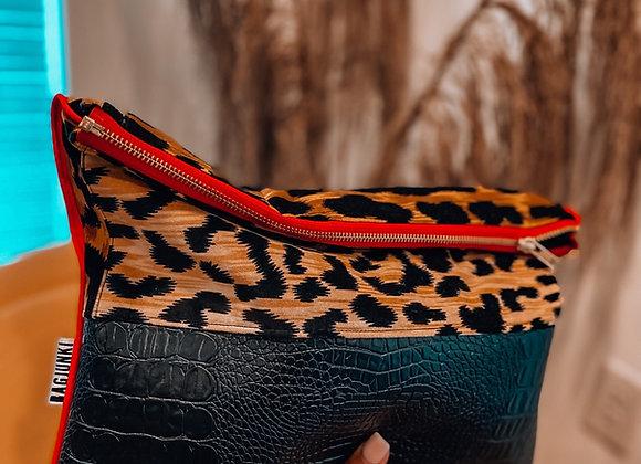 Velvet Leopard Gator Remix Clutch
