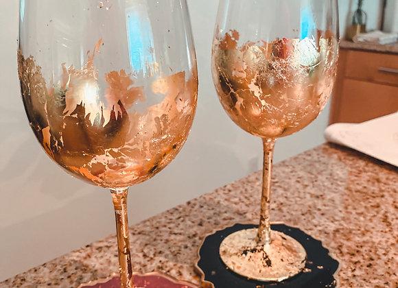 Gold Leaf Wine Glasses