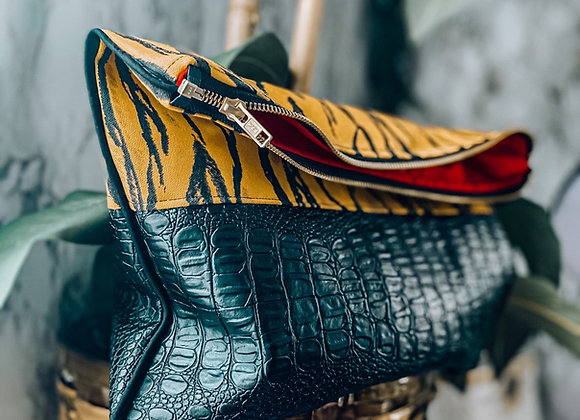Tiger Snakeskin Clutch