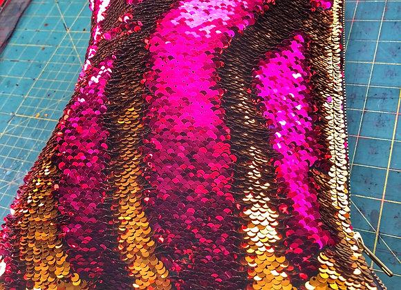 Hot Pink/Gold Reversible Sequin clutch