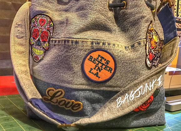 Patched Up Denim Bucket Bag