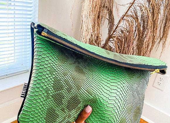 Money Green Snakeskin Foldover