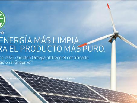 Golden Omega logra certificación Green-e™ Energy por uso de energías limpias en sus operaciones
