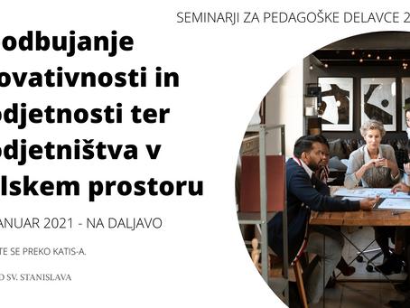 Seminar: Spodbujanje inovativnosti in podjetnosti ter podjetništva v šolskem prostoru
