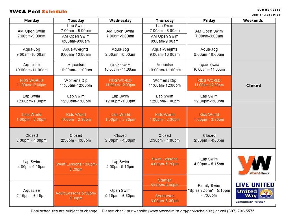 ywca elmira pool schedule