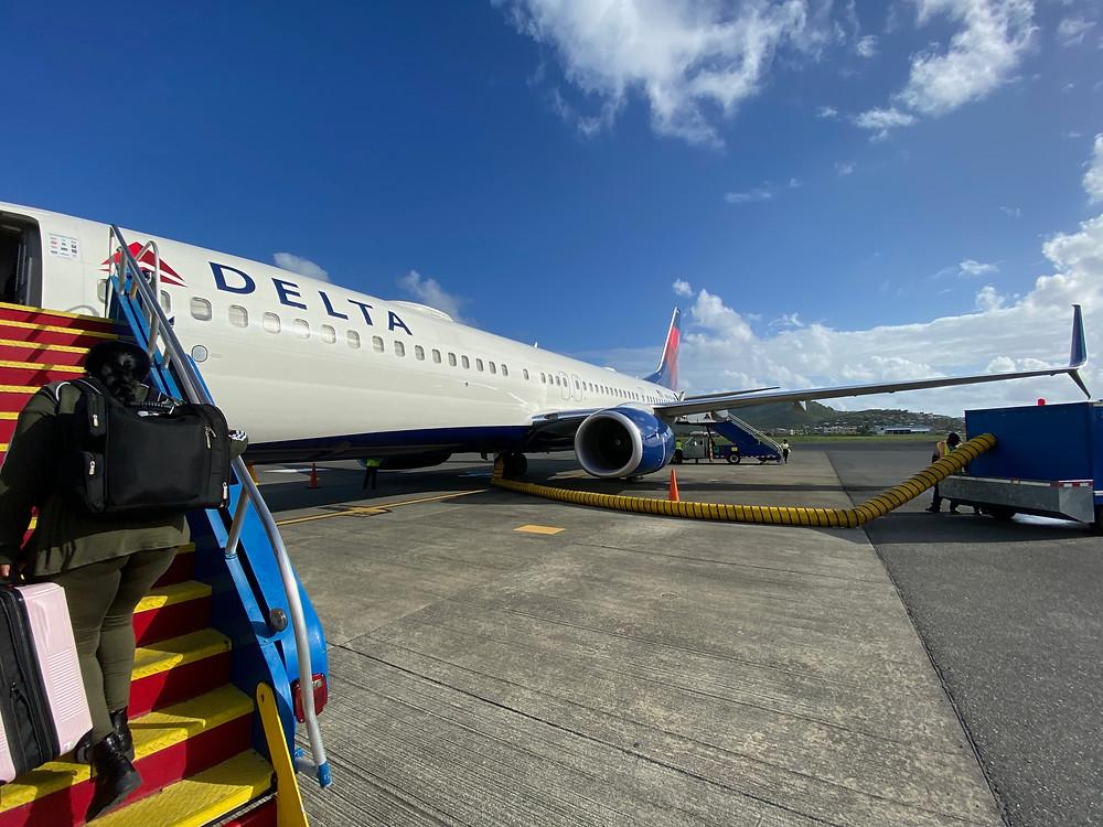 Boarding plane in St Lucia
