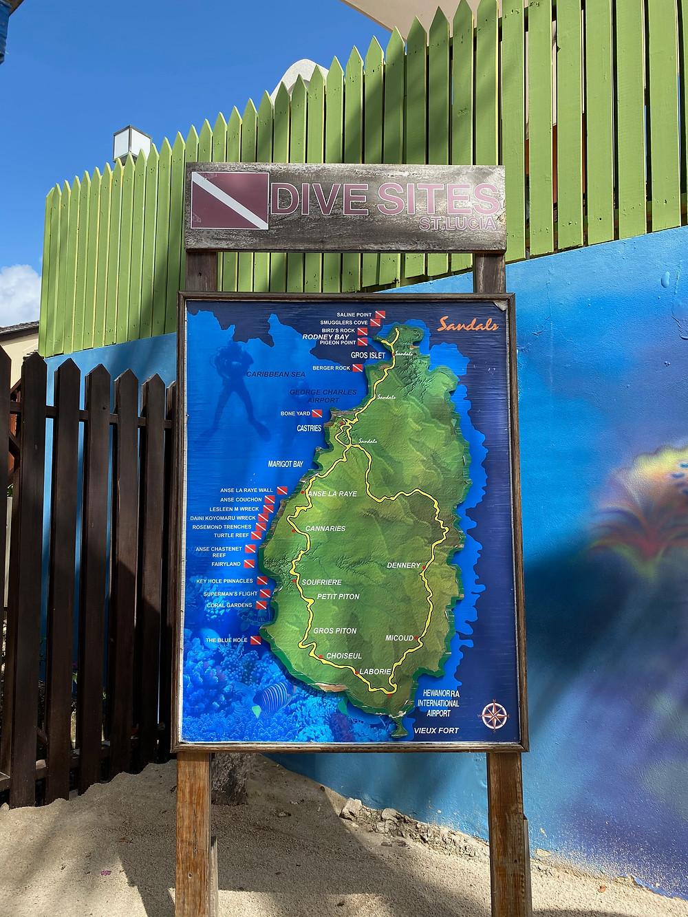 St Lucia Grande Dive Map