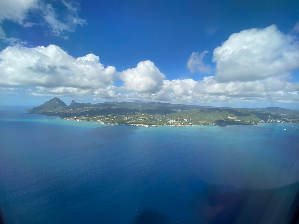 St Lucia from a landing plane