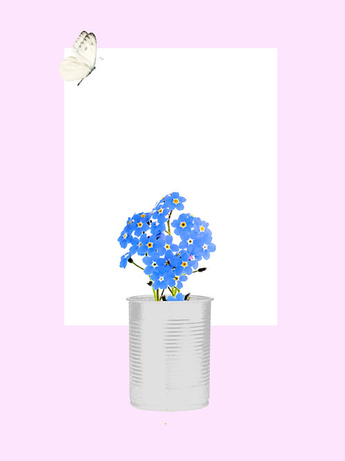 Forget Me Not with White Butterfly (Soft Pink)