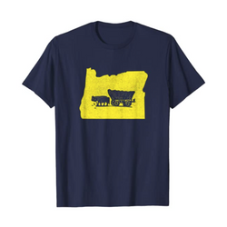 Oregon [flag covered wagon]