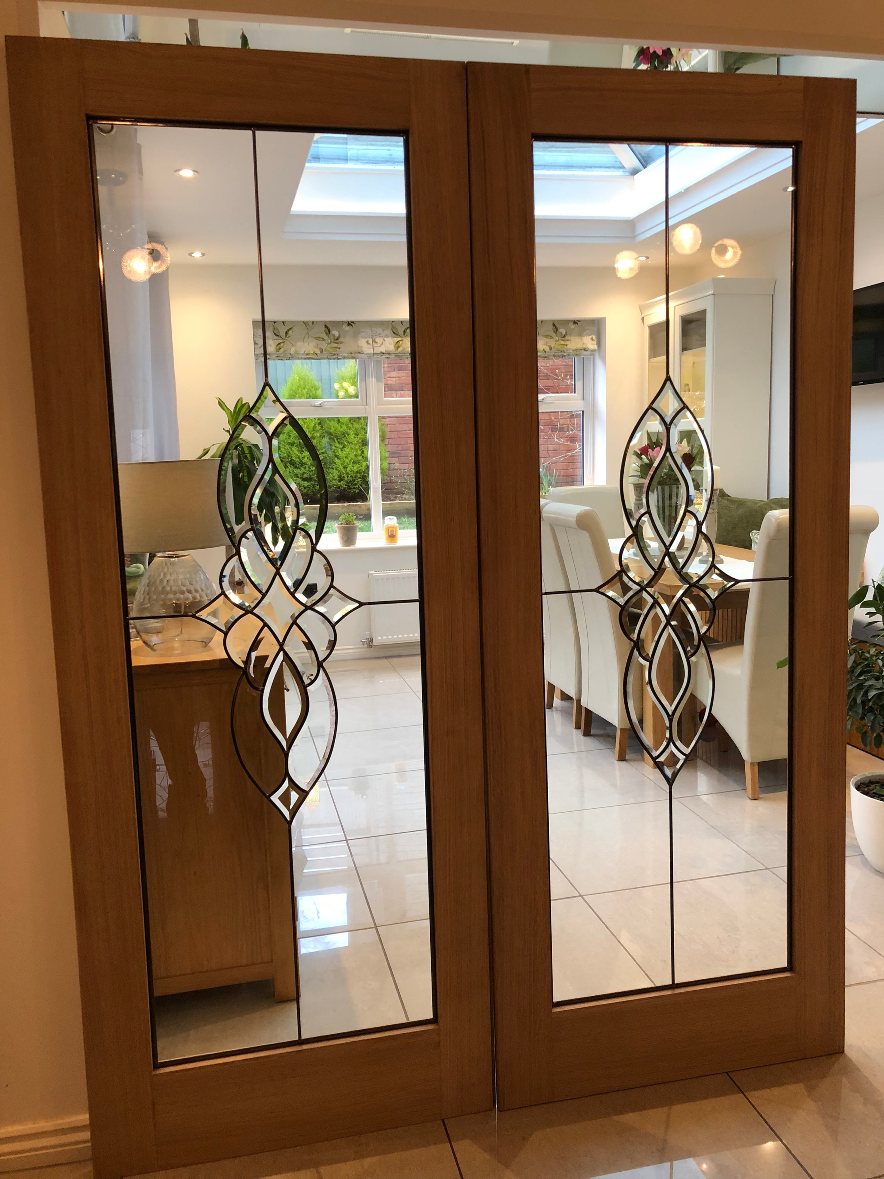 Beveled Glass Internal Double Doors Oak Geleta Doors