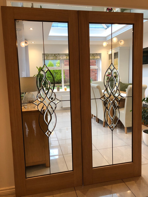 Beveled Glass Internal Double Doors Oak