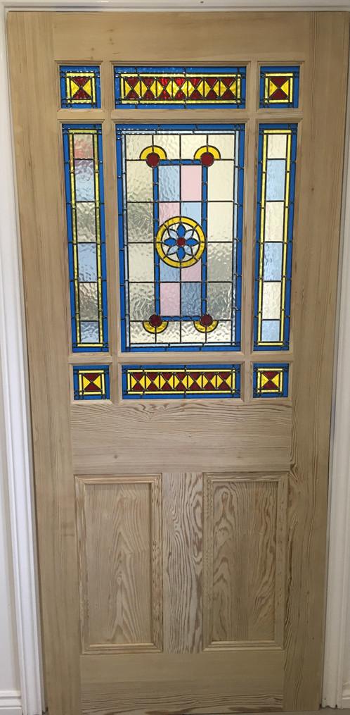 Downham Stained Glass Internal Door Pitch Pine