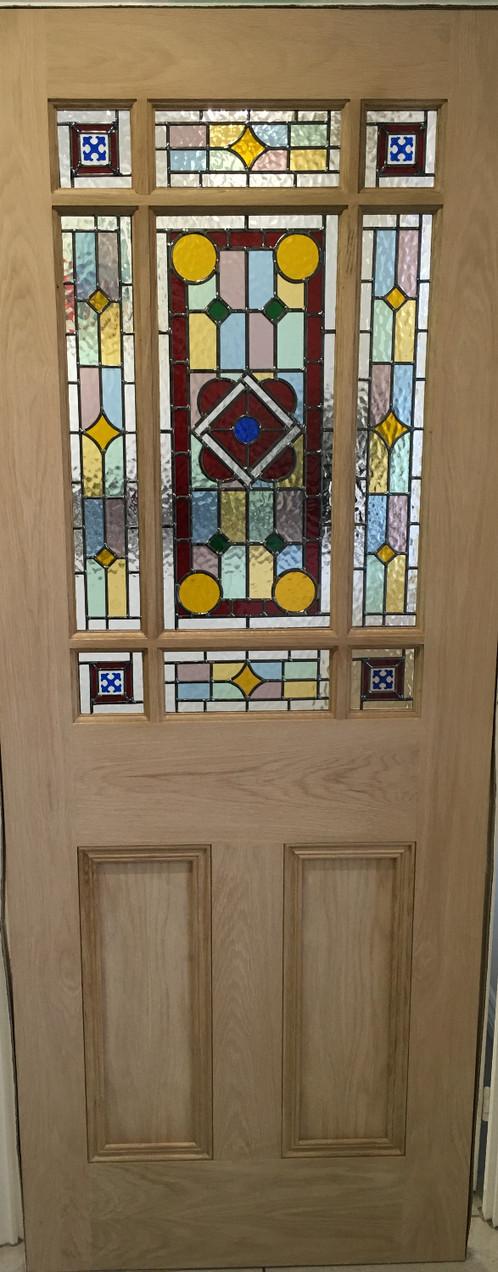 Downham Stained Glass Internal Door White Oak