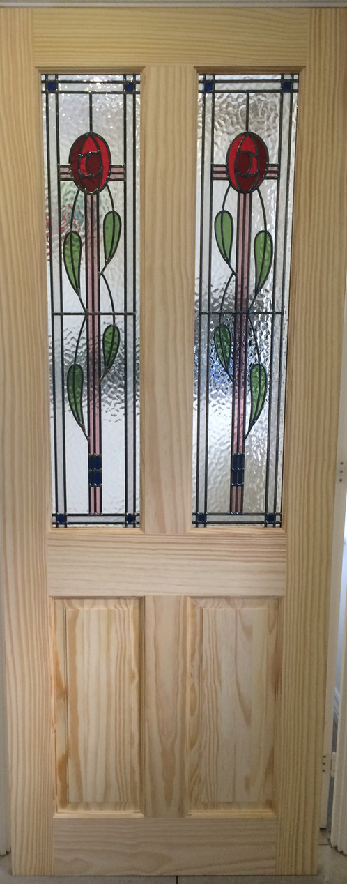 Rennie Mackintosh Rose Stained Glass Internal Door Clear Pine