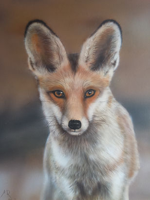 Painting of a fox with Airbrush medium