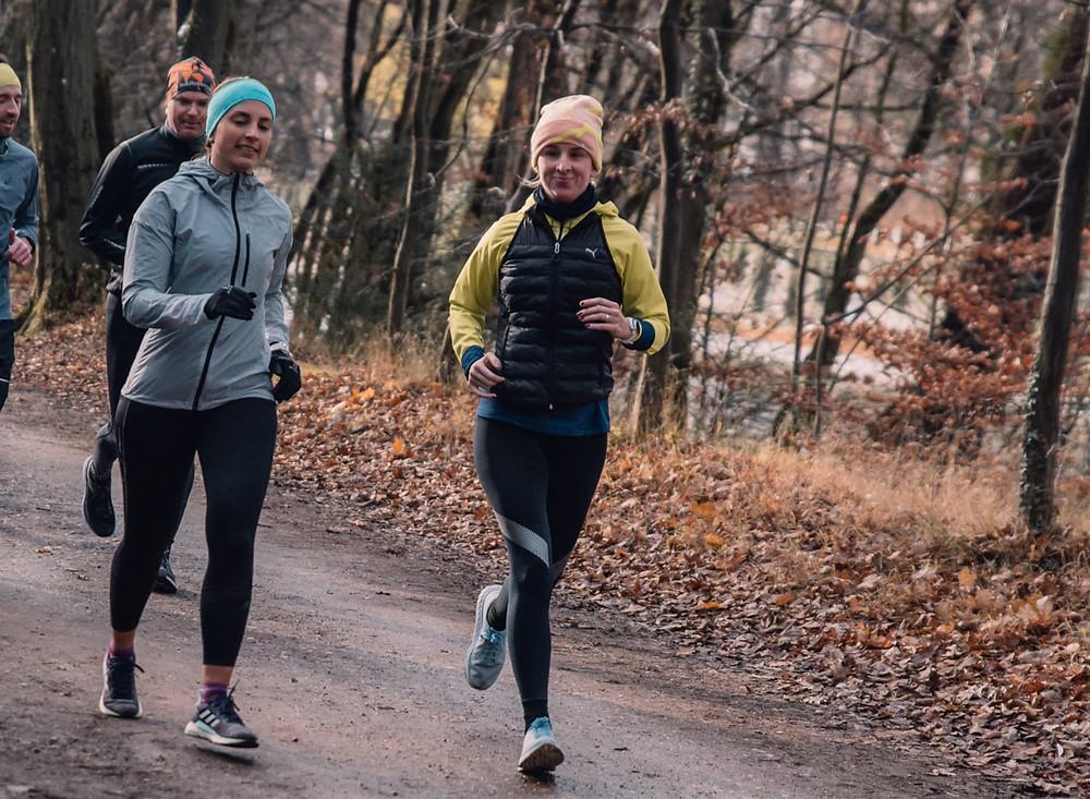 Laufen an der Isar auf Waldboden