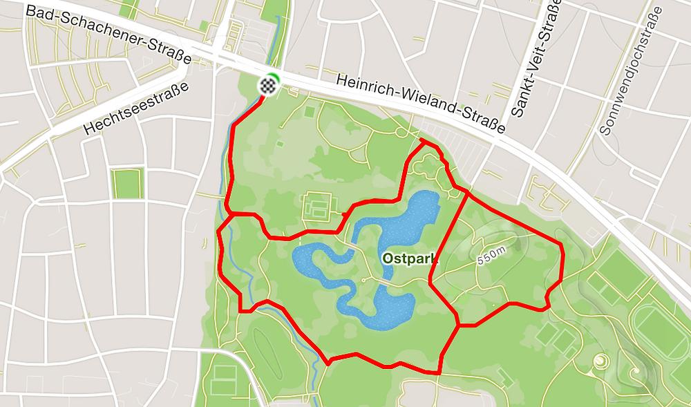 Maps Laufroute vom Ostpark München