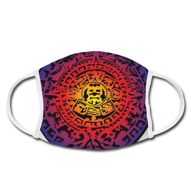 Gesichtschutzmaske mit Maya Kalender bunt Design