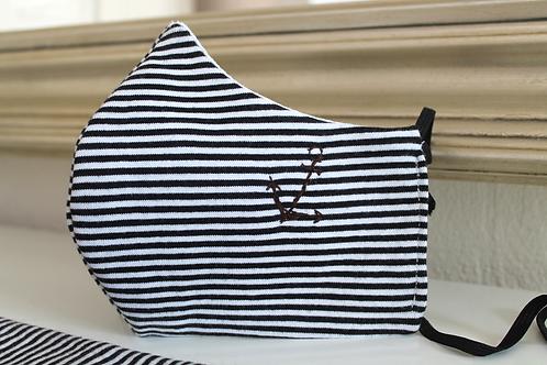 schwarz - weiss - gestreifte Gesichtsmaske mit  Anker Motiv in handgemachter Stickerei