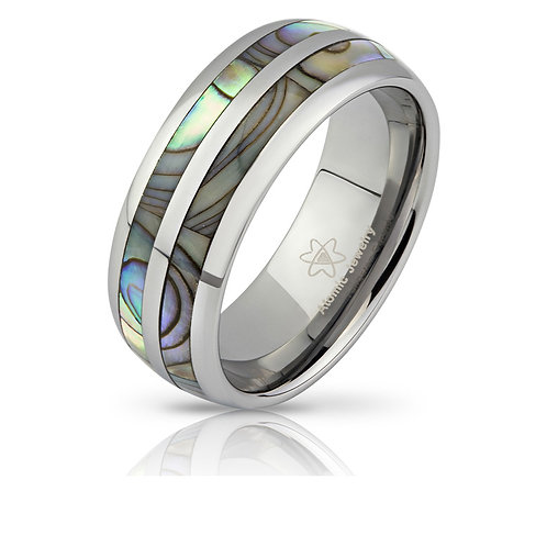 SPLIT SEASHELL INLAY TUNGSTEN CARBIDE WEDDING RING SILVER