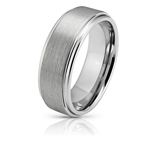 CLASSIC MATTE BRUSHED INLAY MEN'S SILVER TUNGSTEN RING