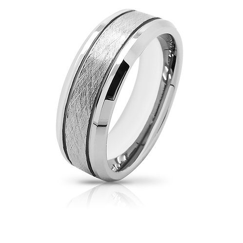 CLASSIC BRUSHED INLAY MEN'S SILVER TUNGSTEN RING