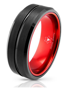 UNIQUE RED TUNSGTEN CARBIDE RING UNISEX