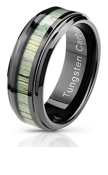 REAL BAMBOO WOOD TUNGSTEN CARBIDE WEDDING RING