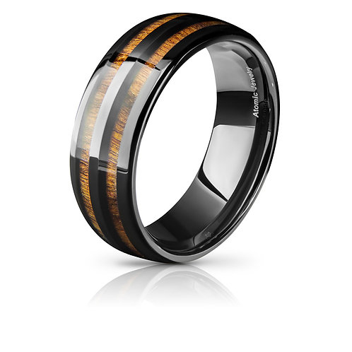 SPLIT REAL KOA WOOD TUNGSTEN CARBIDE WEDDING RING