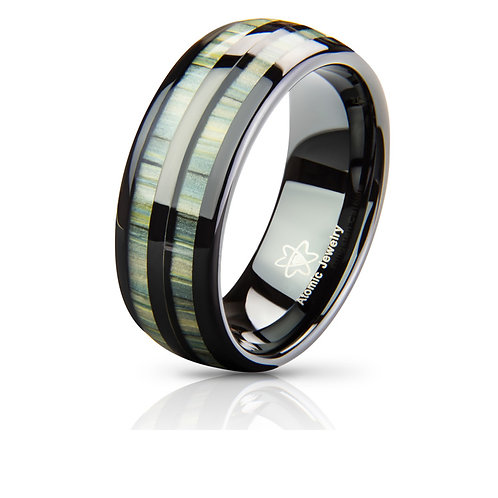 REAL BAMBOO SPLIT WOOD TUNGSTEN CARBIDE WEDDING RING