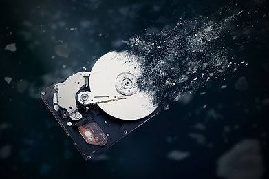 The old hard disk drive is disintegratin