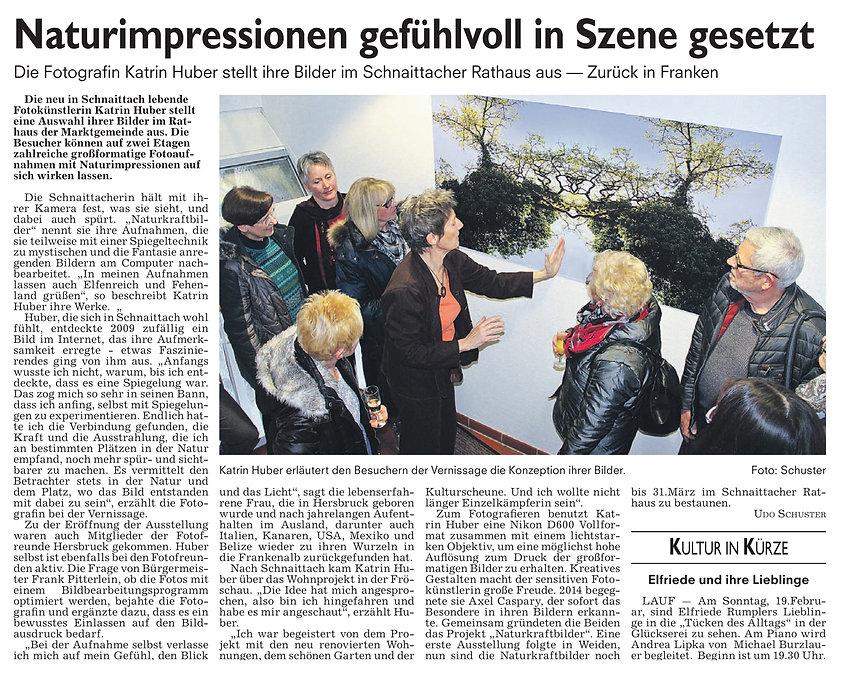 Zeitungsartikel Ausstellung Katharina Hubner