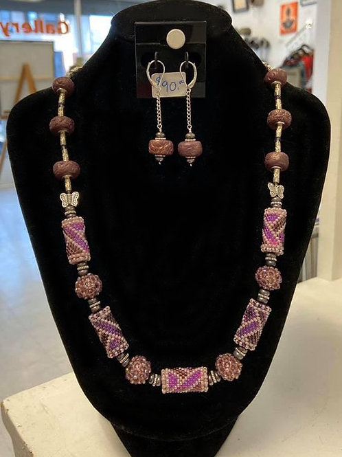 A Study in Purple Necklace and Earring Set