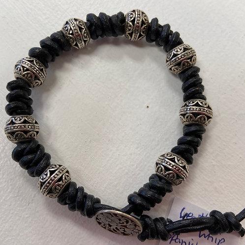 Spanish Knot Silver Bead Bracelet