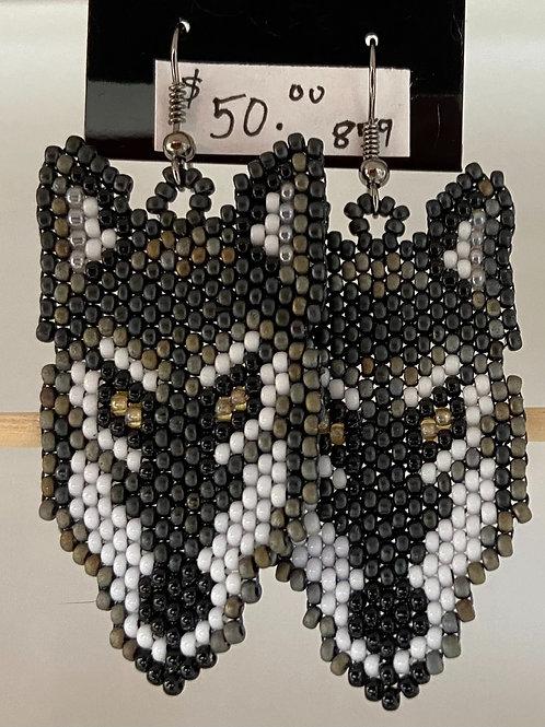 Grey Wolf Head Earrings