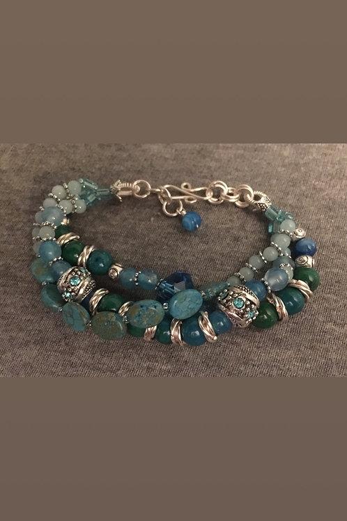 Multi-strand Blue-green bracelet