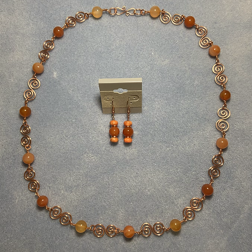 Copper and Carnelian Necklace, Bracelet and Earrings