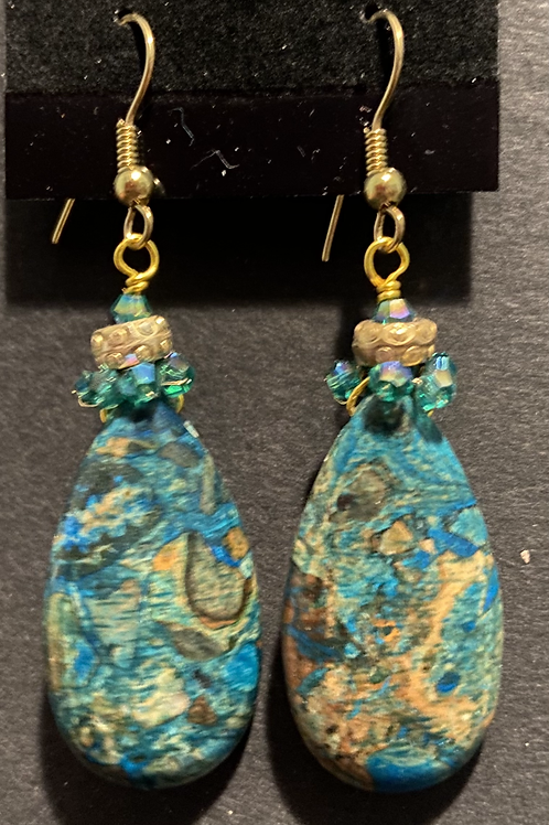 Blue-Green Crazy Lace Agate Pendant Earrings