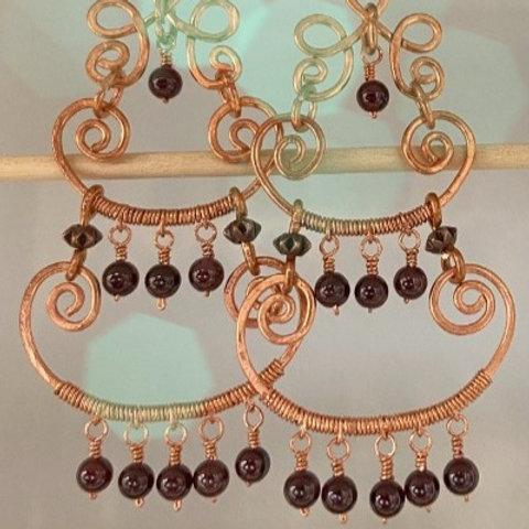 Garnet on Copper Wire Wrapped Chandelier Earrings