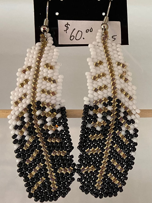 Eagle Feather Beaded Earrings
