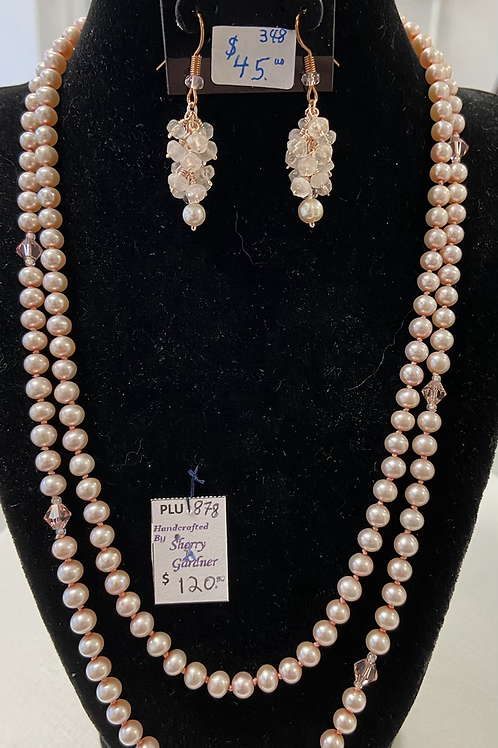 Pink Pearl Necklace and Rose Quartz & Pearl Earrings Set