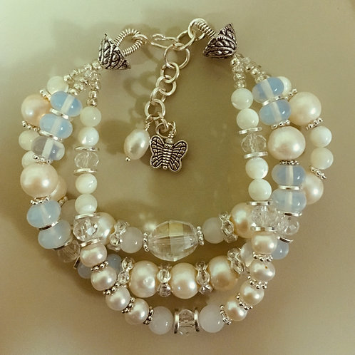 Plenty of Pearls Beachy Boho Multi strand Bracelet