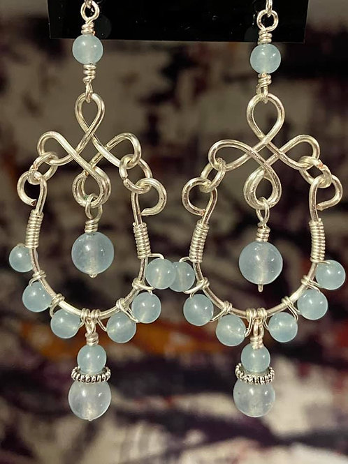 Aquamarine Stone on Silver Chandelier Earrings